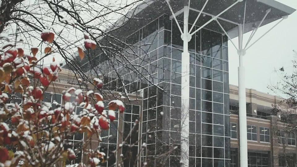 A shot of the Falcon Center during the Polar Vortex.