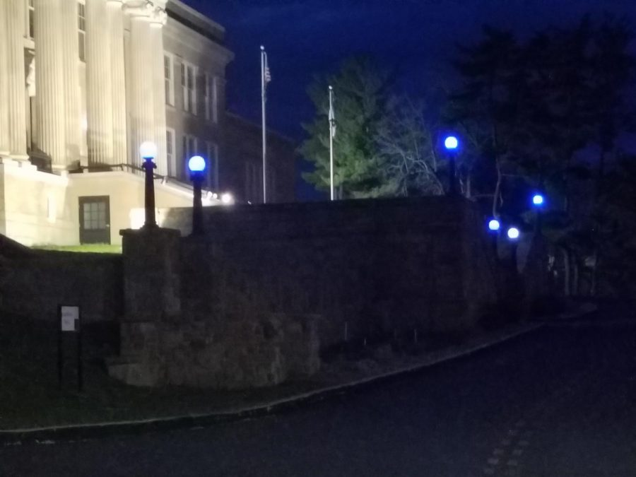 Hardway Hall lights up blue.