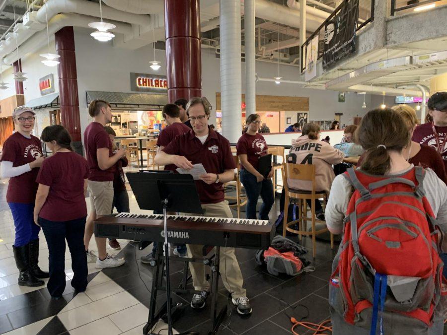 Fairmont State University students prepare to perform