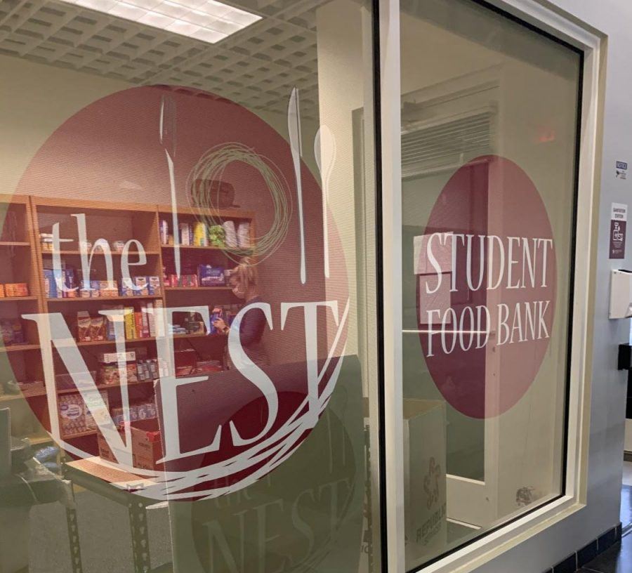 The NEST, the FSU student food bank, is located on the second floor of the Falcon (Student) Center.