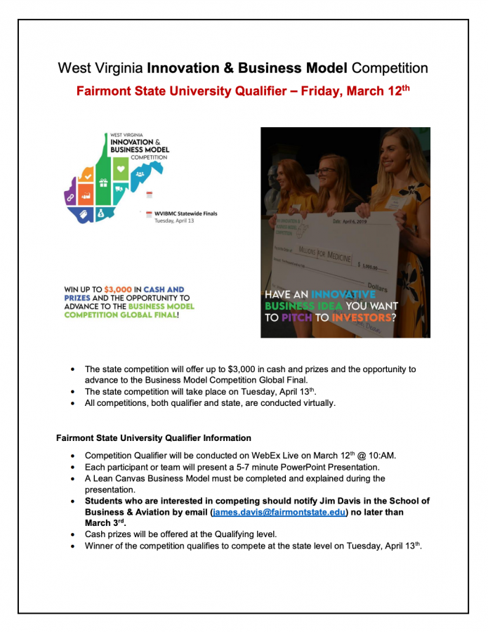 Flyer for West Virginia Innovation & Business Model Competition